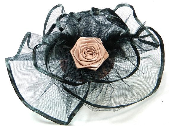 Fascinator baby pink black Ladies Hat Cocktail by Nashimiron