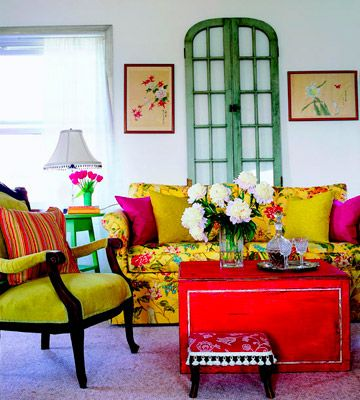 Clever Ideas for Flea Market Finds  Mix with Abandon  Painted pieces relax the formality of the traditional furnishings, including the lime-upholstered side chair that once belonged to Grandma. An old door serves as flexible artwork -- simply lean it against the wall wherever you need a visual boost.