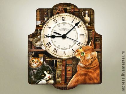 Часы для дома ручной работы. Ярмарка Мастеров - ручная работа часы настенные Коты в Библиотеке. Handmade.