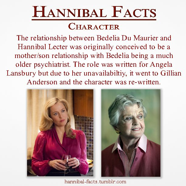 Hannibal | Gillian Anderson and Angela Lansbury ~ When I found out it was supposed to go to Angela Lansbury, I wanted to cry...I love Gillian Anderson, but ANGELA LANSBURY!