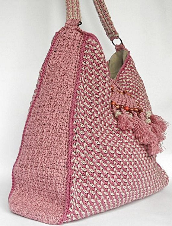 Crochet bag PDF pattern Colores de rosas tunisian by Luganika