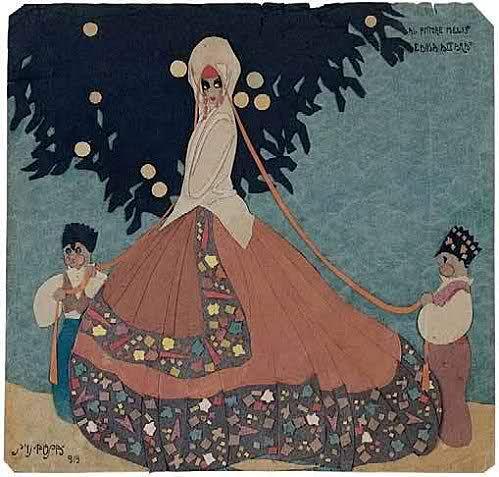 Edina Altara: S'ISPOSA, 1919 collage di carte colorate, cm 23 x 24, Nuoro, MAN.