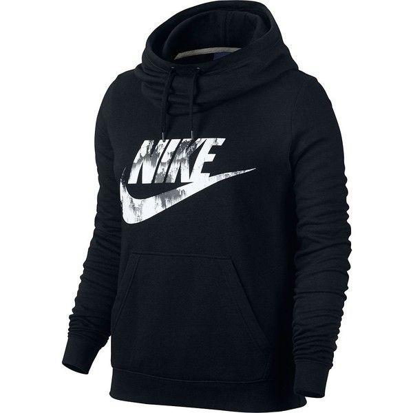 Women's Nike Sportswear Funnel Neck Hoodie ($50) ❤ liked on Polyvore featuring tops, hoodies, grey, hooded sweatshirt, print hoodie, grey hooded sweatshirt, funnel-neck hoodies and patterned hoodies