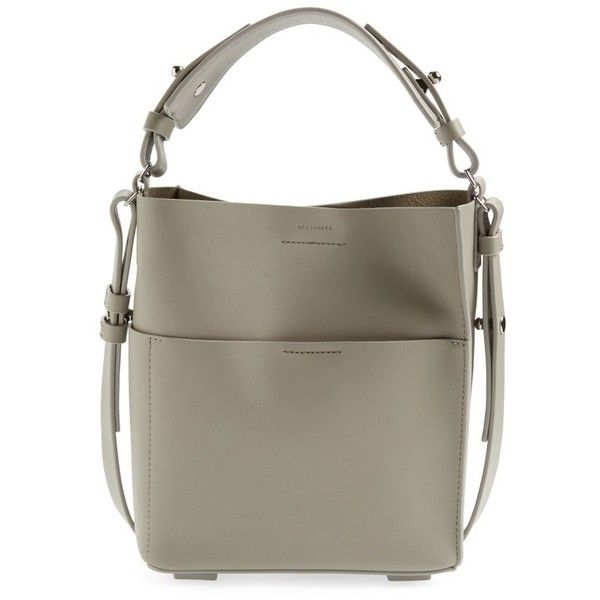 Women's Allsaints Mini Echo Calfskin North/south Tote ($167) ❤ liked on Polyvore featuring bags, handbags, tote bags, light cement grey, mini tote bags, grey tote, grey handbags, grey tote handbags and grey tote bag