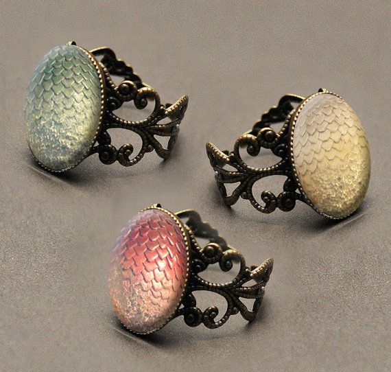 Game of Thrones Daenerys' dragon eggs glass cabochon filigree ring: CHOOSE Viserion, Rhaegal or Drogon on Etsy, $12.13