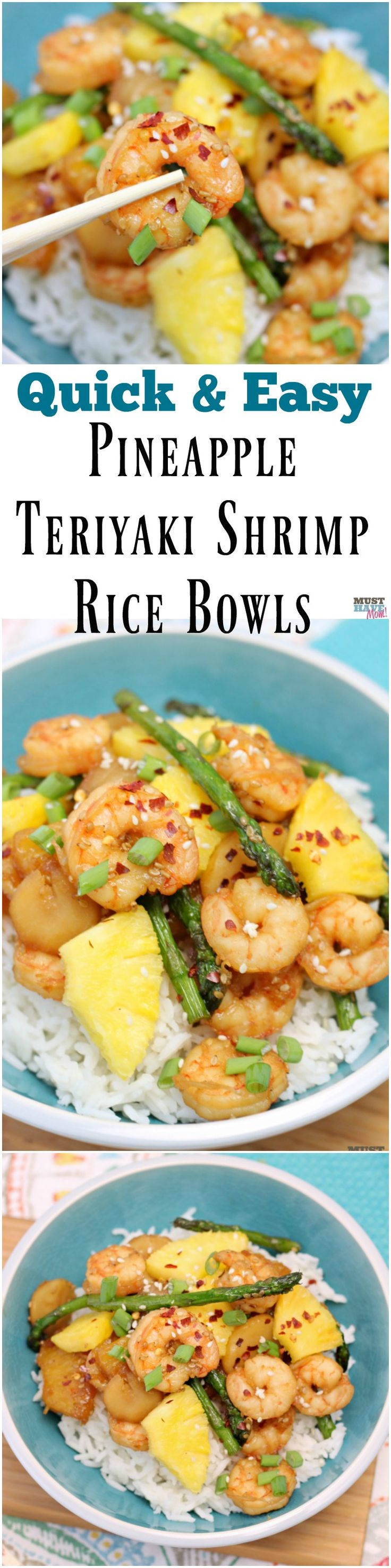 Quick and easy pineapple teriyaki shrimp rice bowls recipe! Easy shrimp recipes for busy weeknights that can be made in 20 minutes or less! (Shrimp Recipes Easy)