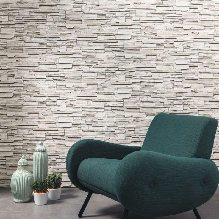 Papel pintado metaphore imitaci n piedra tonos grises - Papel decorativo para pared ...