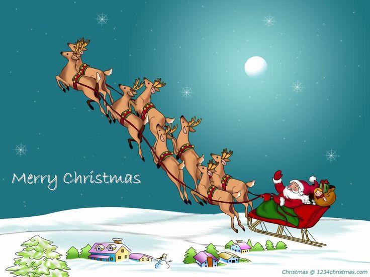 Santa Claus Flying Reindeer Wallpaper | Santa Flying ...