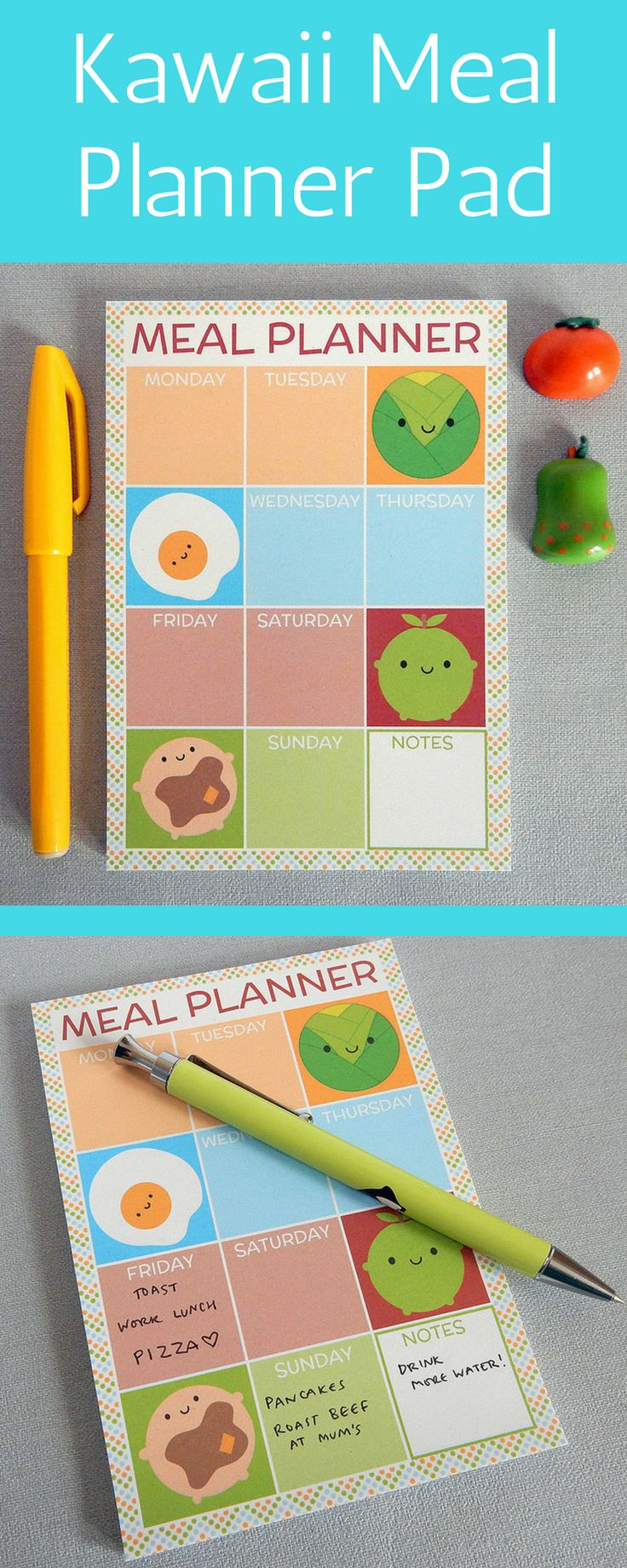 Organise your week's meals for a year with this cute magnetic notepad | Kawaii Meal Planner Pad |  Family meal planner for busy mums #planner #planneraddict #mealplanning #ad