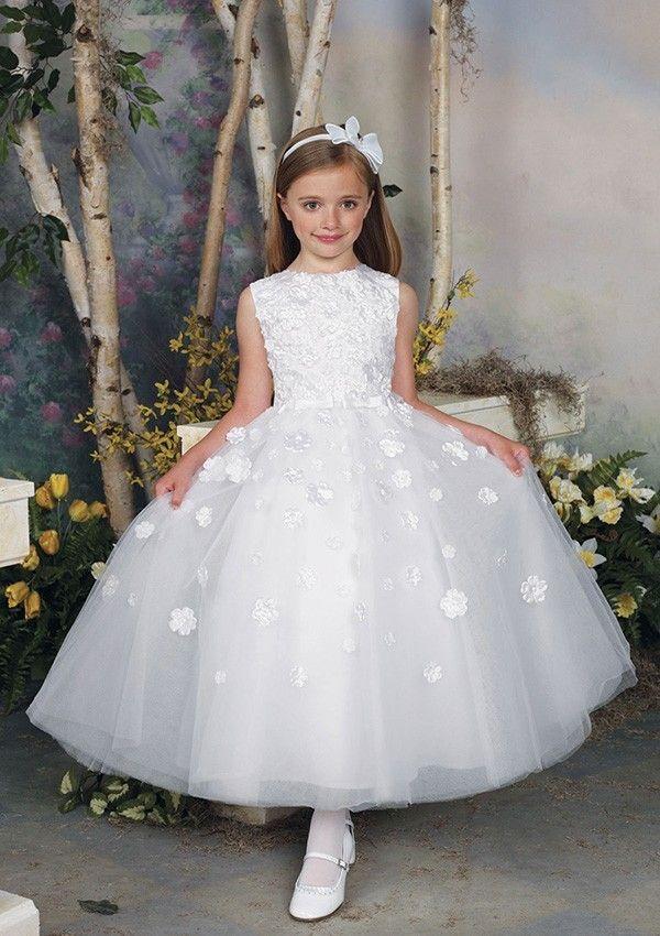 Sleeveless Princess Tea Length Organza Natural Waist Flower Girl Dress
