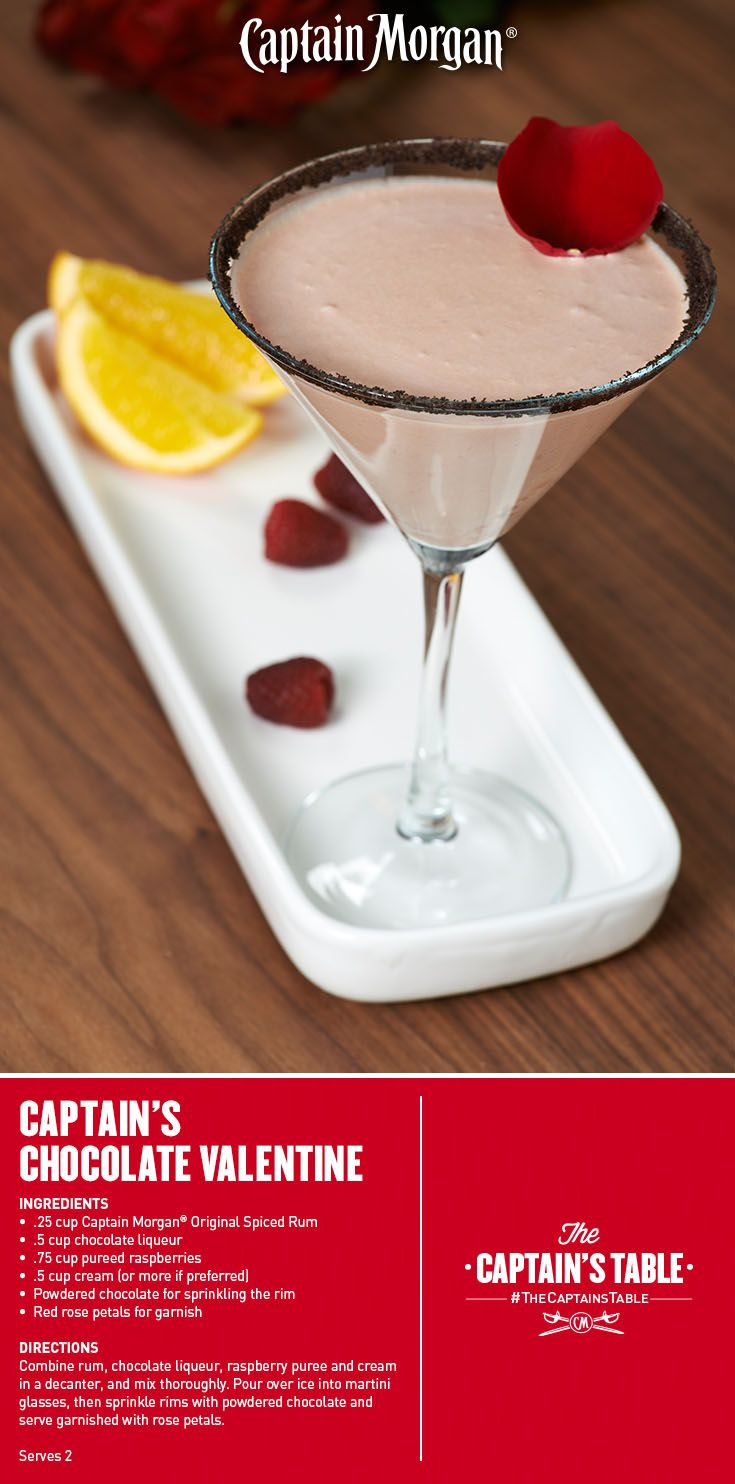 Valentine's chocolate and roses packed into one decadent cocktail! #Captain #Morgan #rum #drinks #recipe #CaptainsTable