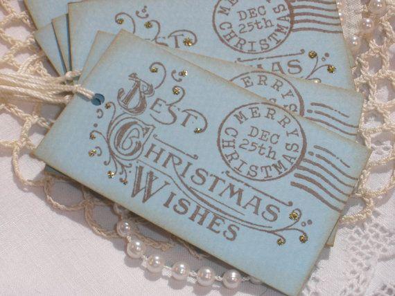 Christmas Postage Gift Tags: Christmas Diy, Tags Sets, Christmas Crafts, Postage Gifts, Postcards Gifts, Christmas Wishes, Gifts Tags, Favors Tags, Christmas Gifts