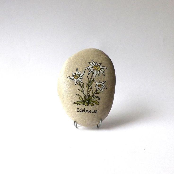 Peinture sur galet, fleurs Edelweiss : Accessoires de maison par sabistar-creations