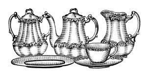 старинные набор чая клип, старомодный набор чая иллюстрации, старинные кухня клипарт, антикварные блюда графика, черно-белый клип арт чайный набор