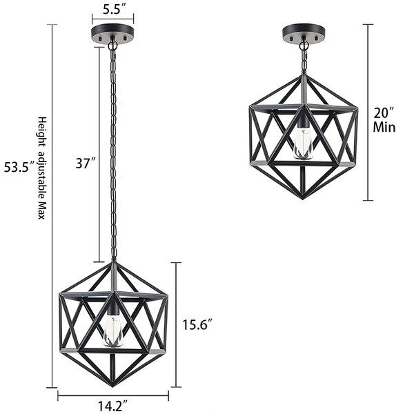 Bridport 1 Light Unique Statement Geometric Pendant With Wrought Iron Accents Wrought Iron Accents Geometric Pendant Light