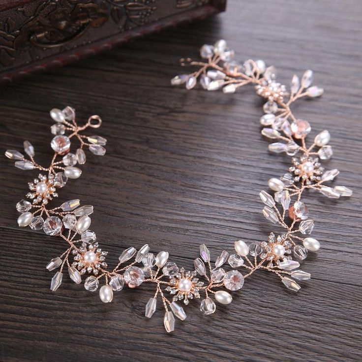 <b>KMVEXO</b> Gorgeous Rose Gold Wired Rhinestones Crystals Pearls ...