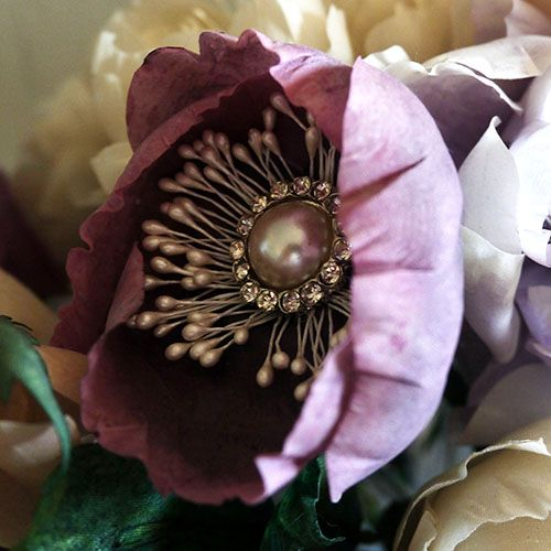 Purdy in Bloom Poppy has 4 delicate petals that dance around a centre of crystals and stamens. Silk Flowers loving hand made for Weddings and Special Occasions. http://www.purdyinbloom.com/shop