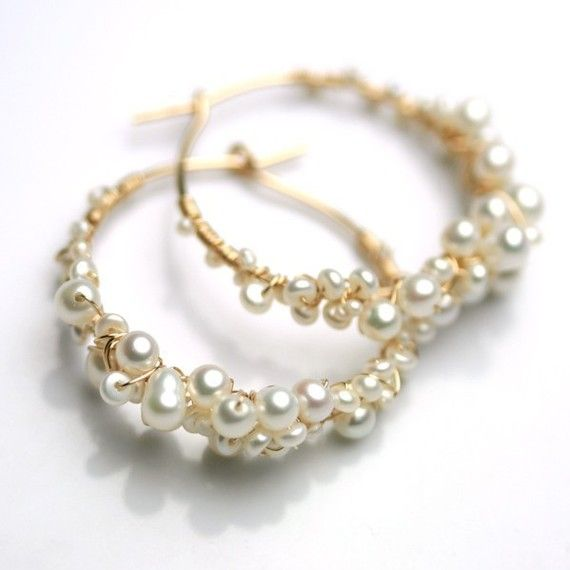 Pearl Hoops Wire Wred By Fussjewelry On Etsy 96 00 Tengui Earrings Pinterest Jewelry And Pearls