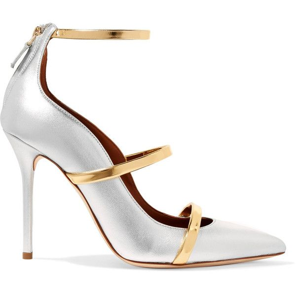 Malone Souliers Robyn metallic leather pumps (£475) ❤ liked on Polyvore featuring shoes, pumps, genuine leather shoes, metallic shoes, zip shoes, gold and silver shoes and zipper shoes