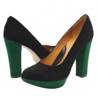 Pantofi casual dama Clarette negru-verde