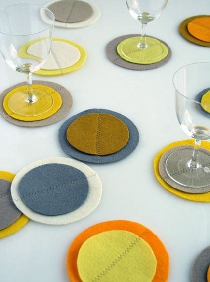 Felt coasters. Perfect for housewarming presents!