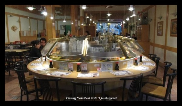 Inside Floating Sushi Boat Restaurant in San Fransisco