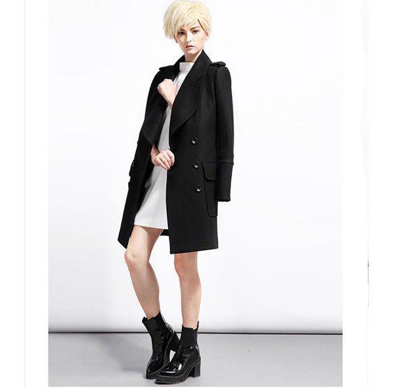 Long wool coat for women with double breasted from BWG studios.