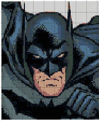 Cross-stitch Batman ... no color chart available, just use pattern chart as your color guide.. or choose your own colors...