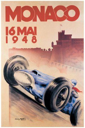 Original postcard auto racing monaco grand prix 1948
