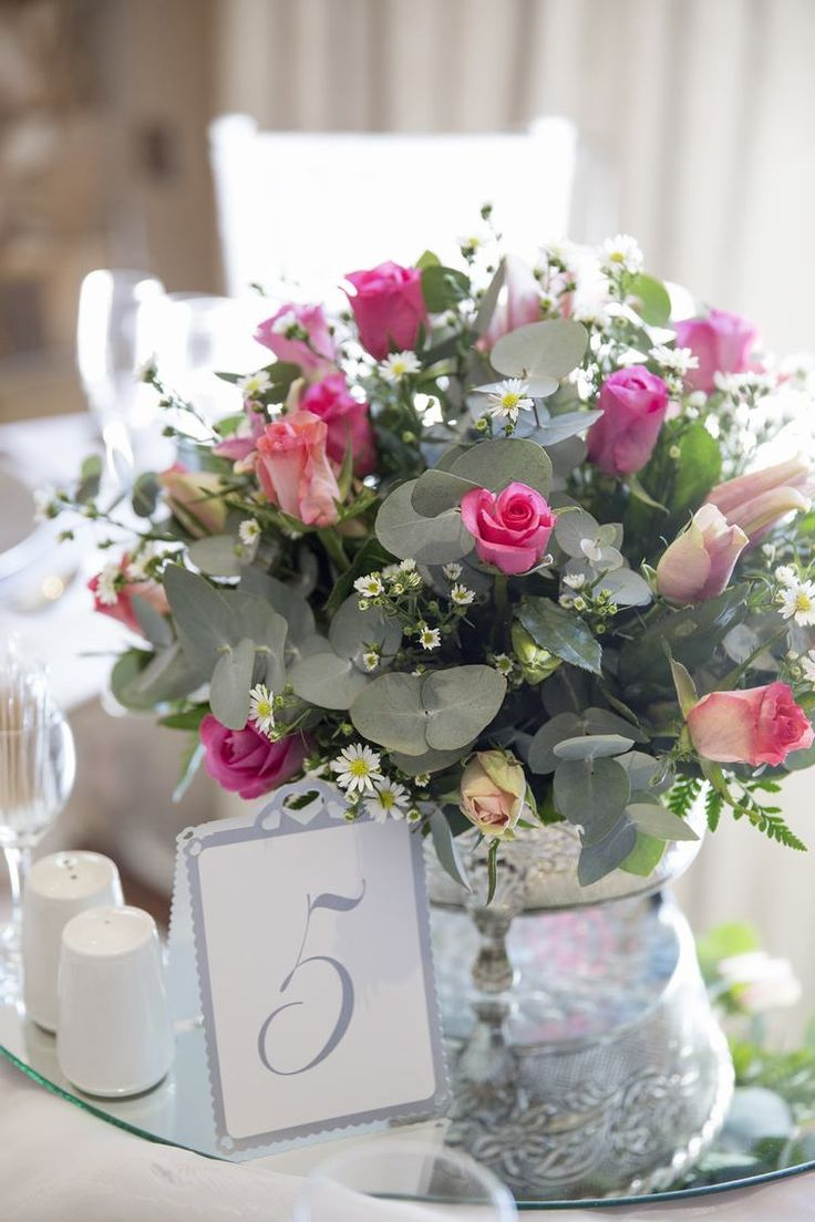 Classical themed with pastel roses and vintage silver