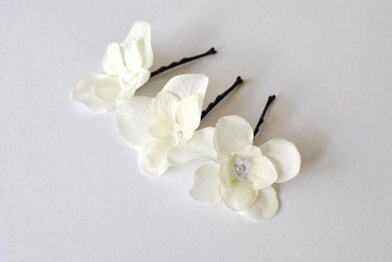 White flower hair pins hair slides hair grip by InMyFairyGarden