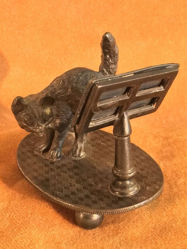 Antique Victorian Napkin Holder Cat Sheet Music Tufts Silverplate RARE 1880s #JamesWTufts