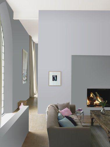 Exemple deco salon zen avec peinture gris souris et gris perle sur cloison salle à manger qui s'harmonisent avec la couleur taupe du canapé. Peinture Le mat Dulux Valentine