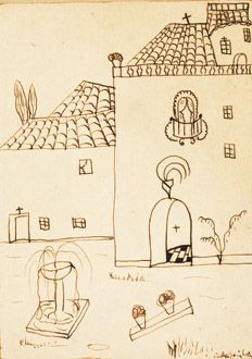 Ilustración: Paisaje Urbano, tinta marrón sobre papel pegado al cartón, por Federico García Lorca