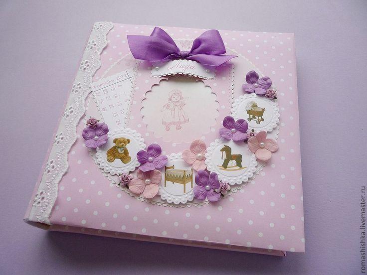 Купить Фотоальбом для малышки - бледно-розовый, фотоальбом для девочки, детский фотоальбом, фотоальбом ручной работы