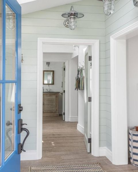 Wall Color is Sherwin Williams Sea Salt on shiplap