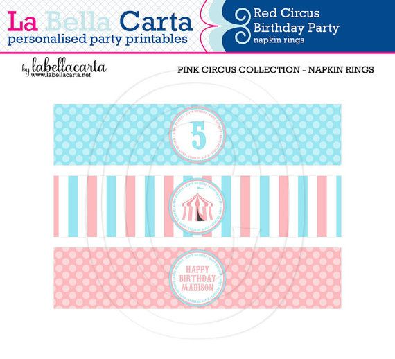 Pink Circus Printable napkin rings Circus Birthday Printable Birthday DIY Party Circus Printable  DIY Party Decor