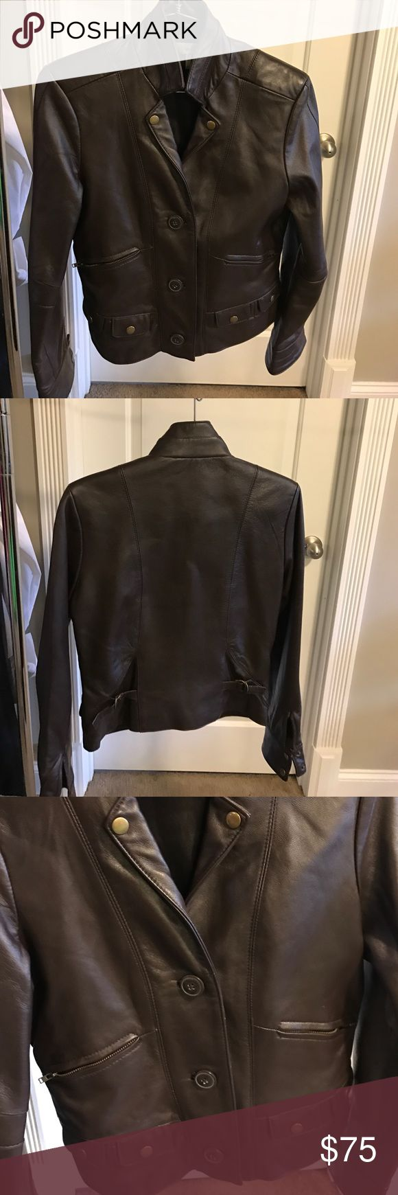 Women's leather jacket!!!! Chocolate ladies leather jacket with button front and zipper pockets!!! So cute!! Barely worn!!!!💕💕💕 Jackets & Coats