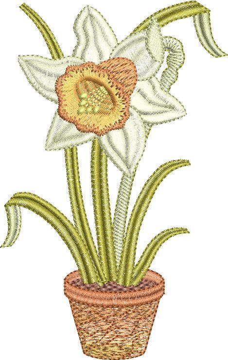 Daffodil in pot Embroidery design by Sue Box