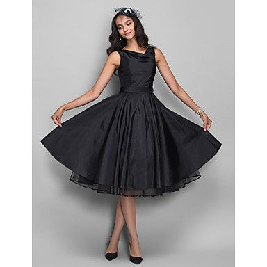 Homecoming Cocktail Party/Homecoming Dress - Black Plus Sizes A-line Cowl Knee-length Taffeta – CAD $ 111.19