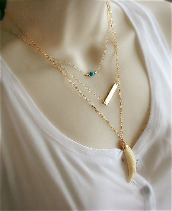 Layered Necklace Horn Necklace Gold Bar Necklace by smilesophie
