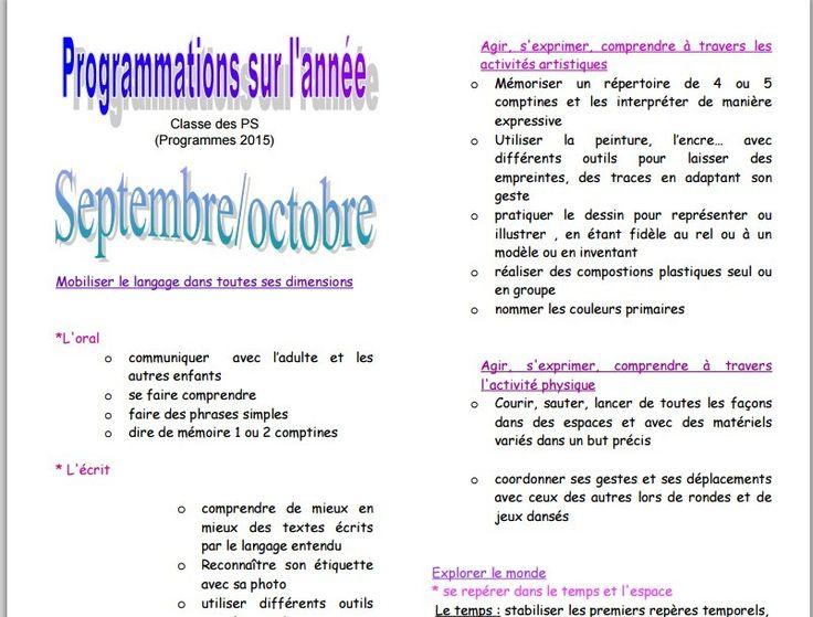 Programmations PS nouveaux programmes chez Katia