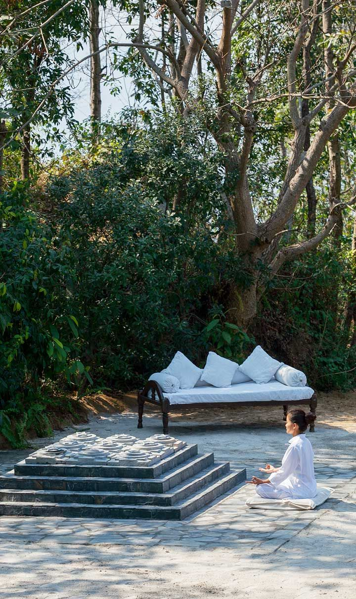 Guests are instructed in the art of meditation and yoga, among other traditional healing therapies. #Indistay | Dwarika's Resort Dhulikhel, Nepal