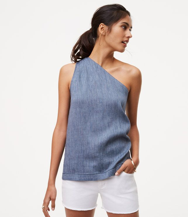 Primary Image of Chambray One Shoulder Top