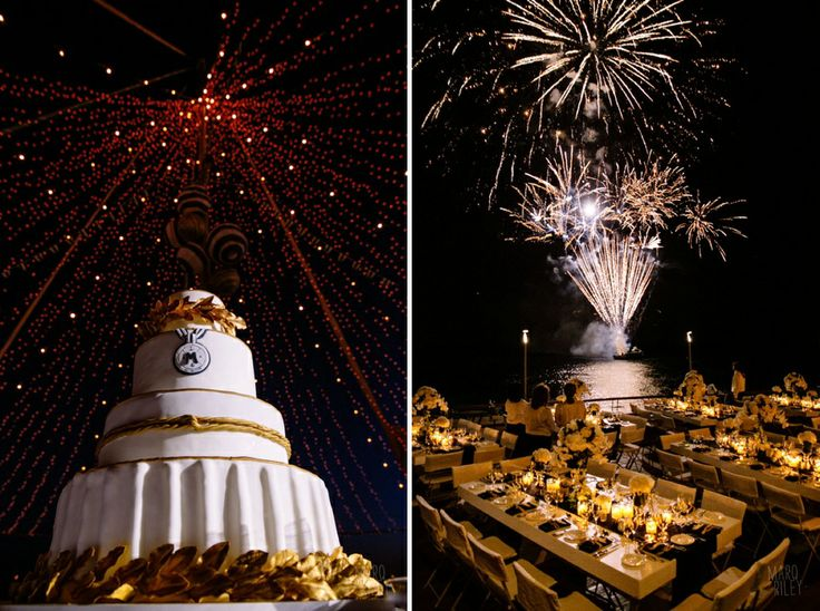 The wedding cake and stunning fireworks to celebrate the union of the couple!
