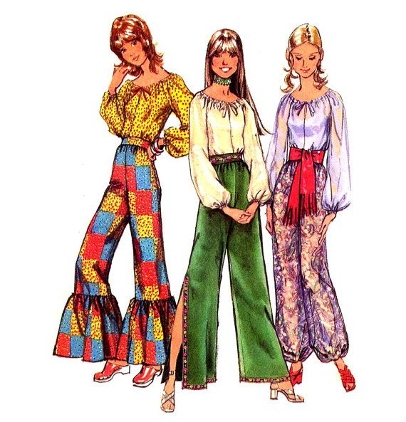 juniors peasant shirt pattern | Fabulous 70s Boho Peasant Blouse, Flounced, Harem or Split Leg High ...
