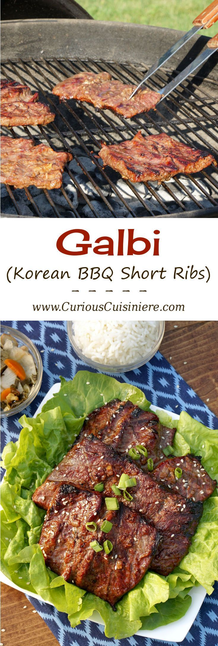 Galbi, Korean BBQ Short Ribs, takes grilled short ribs to a whole new level with a unique cut and a sweet and salty marinade. | www.CuriousCuisiniere.com