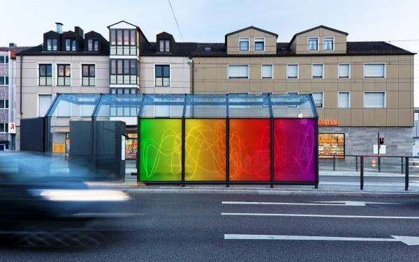 Bus stop Hochzoll in Augsburg designed by Rita Kriege