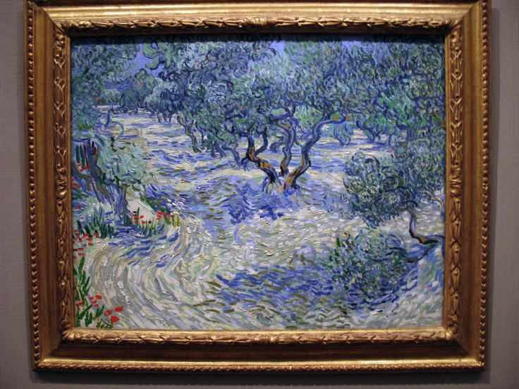 "'Van Gogh used the intense blue of the sky to symbolize the ""divine and infinite presence"" of Jesus. Seeking a ""modern artistic language"" to represent the divine, he sought a numinous quality in many of his olive tree paintings, such as by bathing olive trees, an emblem for Jesus, in ""radiant gold light"".' - Kathleen Power Erickson.  ... A favorite of mine, again, from KC's Nelson-Atkins Museum. Here, Van Gogh discovers the colors of impressionism, and moves toward his masterpieces."