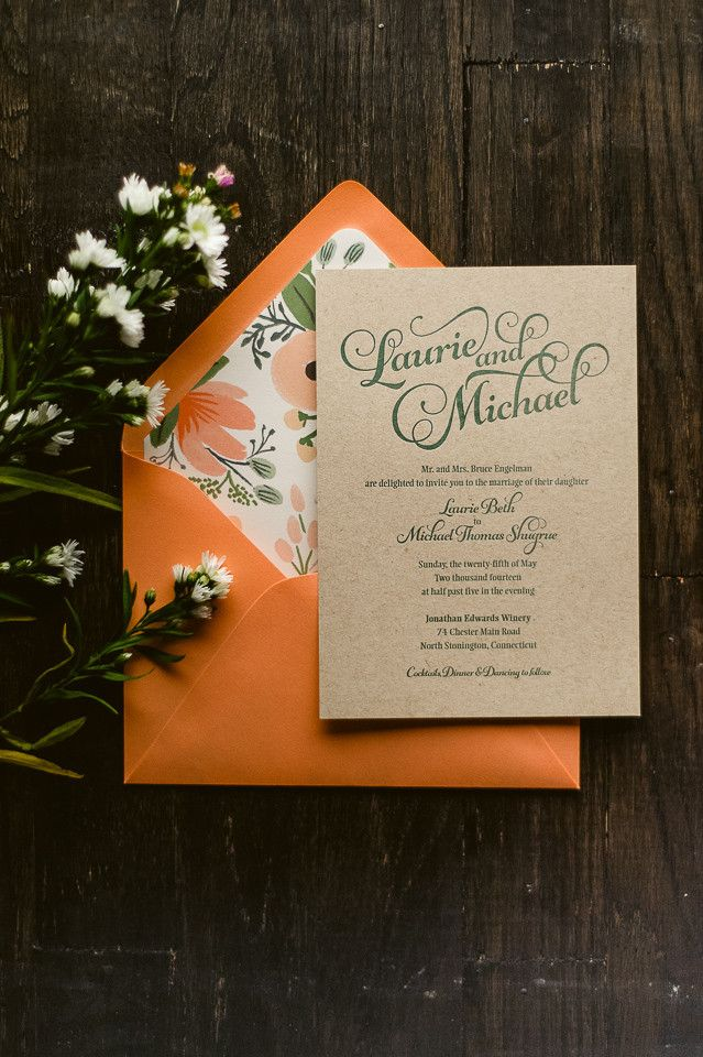 Rustic, Floral, Kraft Lettepressed Invitation, green, forest, coral, Rifle Wildflower, Rifle Paper Co, beautiful script wedding invitation, letterpress wedding invitation, invitation with ribbon and tag, rustic wedding invitation, floral